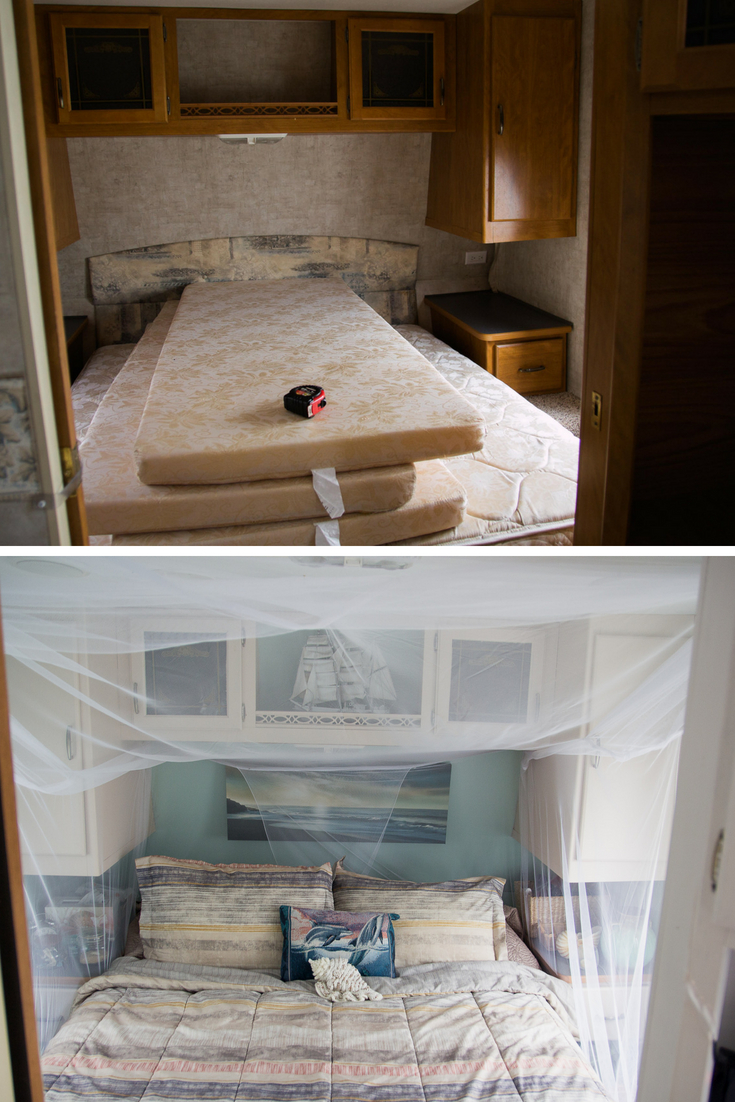 Gorgeous RV Travel Trailer water-damaged Camper Remodel transformation on the cheap! Click the photo for more photos of this amazing budget first-time tiny house owners' renovation!