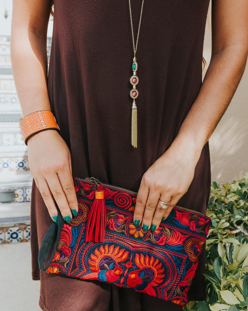 Sari Tassel Necklace India / Leather Haiti Cuff / Fair Trade / Thailand Embroidered Clutch / Ethical / Women's Fashion / Outfit Ideas / Bohemian / Eclectic / Global Style / Click to shop and join our mailing list to learn more, get coupons and promos, and get the first look at new product releases: https://kindredmovement.com/subscribe/ #fairtrade #ethicalfashion #sustainable #ecofriendly #empoweringwomen #endpoverty #directsales #handmade #handcrafted