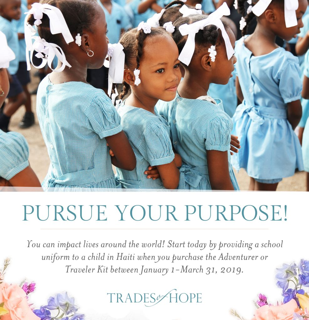 Find out how YOU can provide a school uniform to a child in Haiti with Trades of Hope! Start your business that impacts people all around the globe with Trades of Hope today! Click to read and email tawnyandluke@kindredmovement.com with any questions you may have about this incentive! #tradesofhope #directsales #fairtrade #ethical